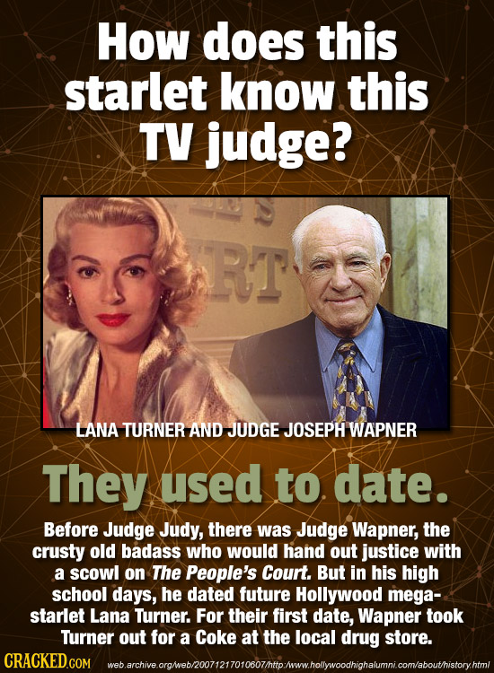 How does this starlet know this TV judge? RT LANA TURNER AND JUDGE JOSEPH WAPNER They used to date. Before Judge Judy, there was Judge Wapner, the cru