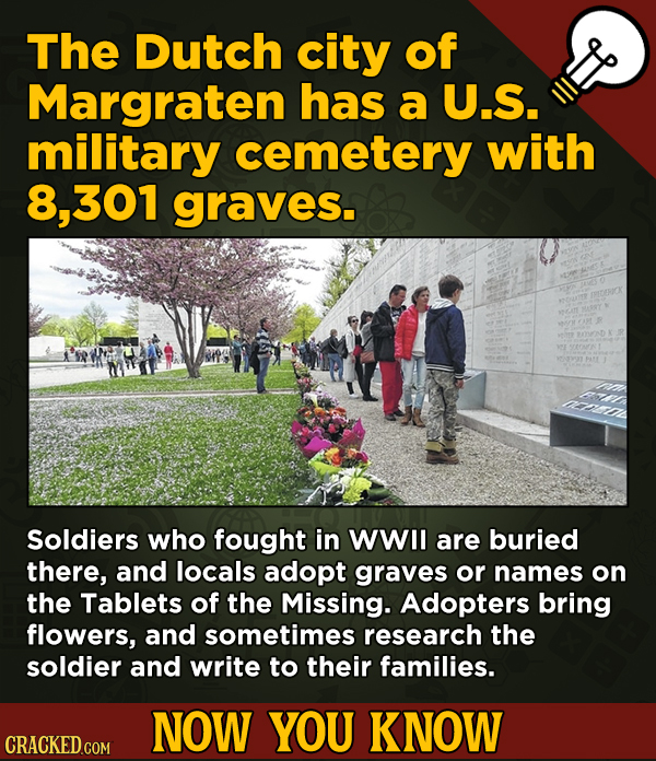 A Fresh Serving Of Movie-related And Miscellaneous Facts - The Dutch city of Margraten has a U.S. military cemetery with 8, 301 graves.