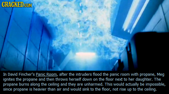 CRACKEDcOM In David Fincher's Panic Room, after the intruders flood the panic room with propane, Meg ignites the propane and then throws herself down