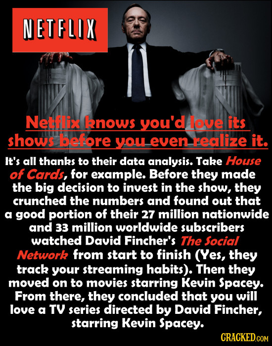 NETFLIX Netflix knows you'd love its shows before you even realize it. It's all thanks to their data analysis. Take House of Cards, for example. Befor