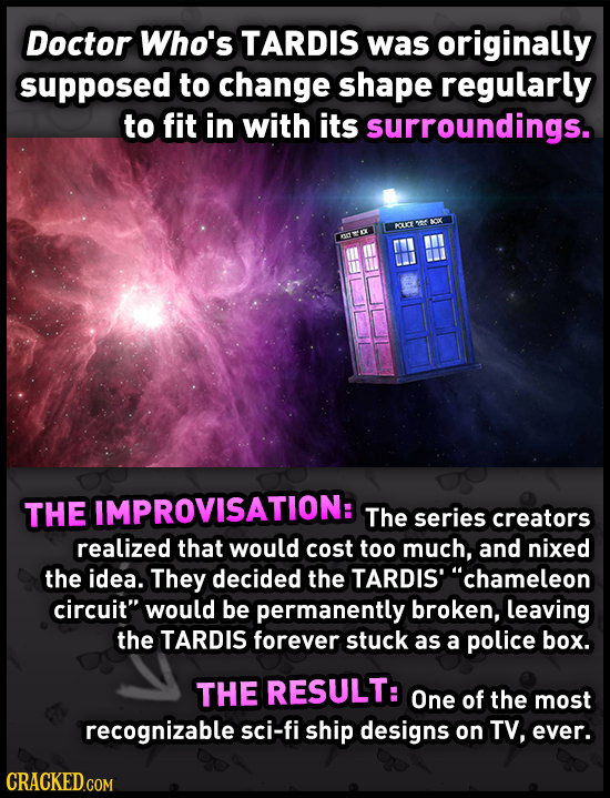 Doctor Who's TARDIS was originally supposed to change shape regularly to fit in with its surroundings. OTC THE IMPROVISATION: The series creators real