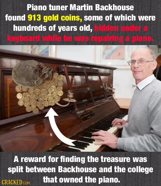 Piano tuner Martin Backhouse found 913 gold coins, some of which were hundreds of years old, hiddlen under a keyboard while he IMAS repairing a piano