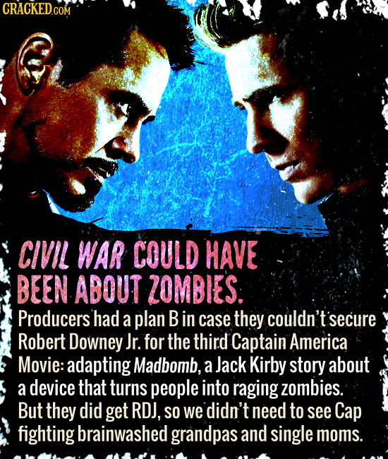 CRACKED.COM CIVIL WAR COULD HAVE BEEN ABOUT ZOMBIES: Producers had a plan B in case they couldn't secure Robert Downey Jr. for the third Captain Ameri