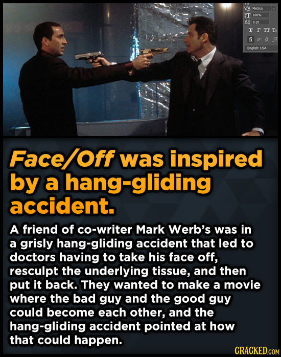 WA Metrics IT 100 A Opt TTTTTr fi Endlsh: USA Face Off was inspired by a hang-gliding accident. A friend of co-writer Mark Werb's was in a grisly hang