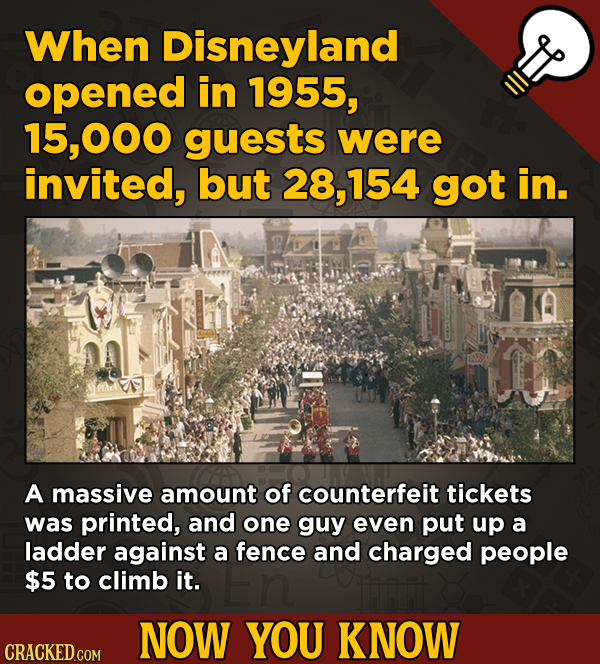 A Fresh Serving Of Movie-related And Miscellaneous Facts - When Disneyland opened in 1955, 15.000 guests were invited,