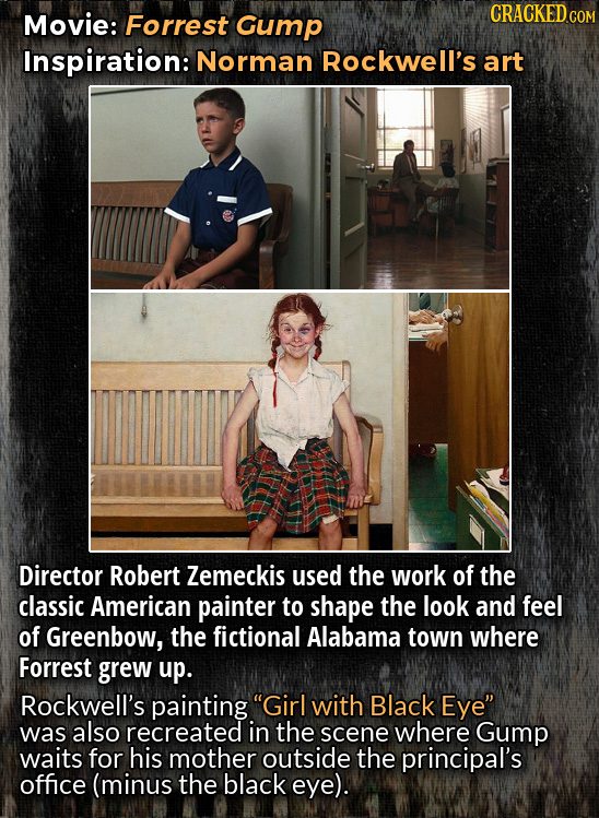 Movie: Forrest Gump CRACKEDCO Inspiration: Norman Rockwell's art Director Robert Zemeckis used the work of the classic American painter to shape the l