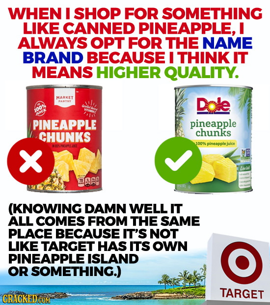 WHEN I SHOP FOR SOMETHING LIKE CANNED PINEAPPLE, I ALWAYS OPT FOR THE NAME BRAND BECAUSE THINK IT MEANS HIGHER QUALITY. MARKET PANTRY Dale 100% JUICE