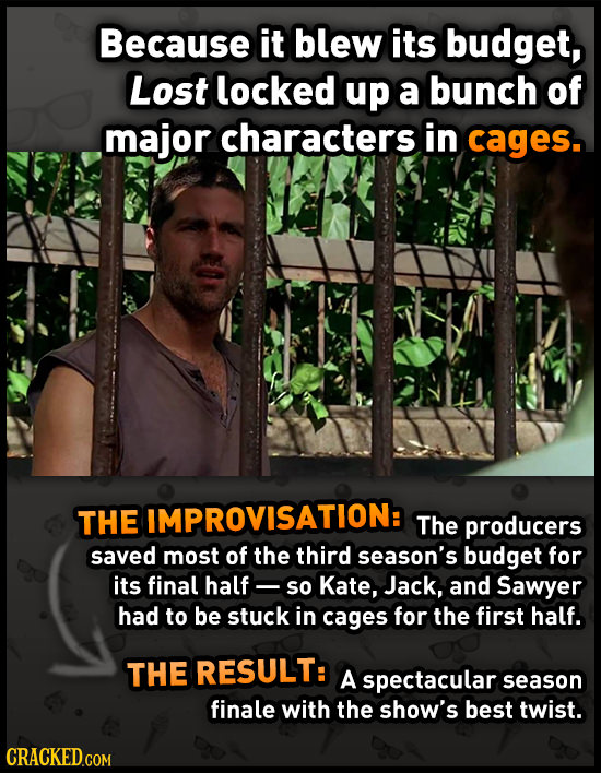 Because it blew its budget, Lost locked up a bunch of major characters in cages. The IMPROVISATION: The producers saved most of the third season's bud