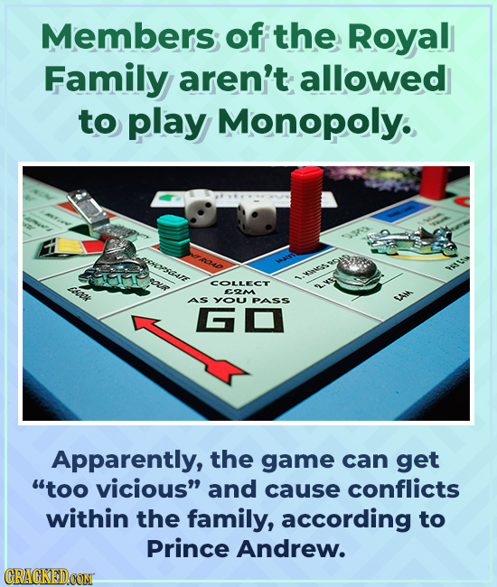 Members of the Royal Family aren't allowed to play Monopoly. eDSCAE ou saz COLLECT E2M AS YO PASS Apparently, the game can get too vicious and cause