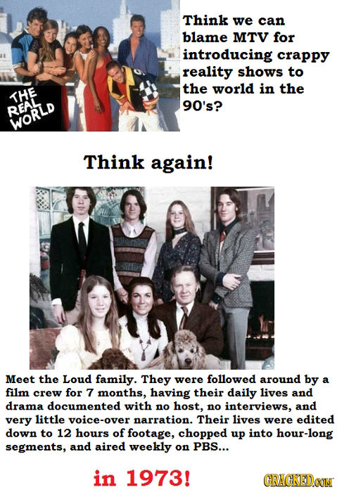 Think we can blame MTV for introducing crappy reality shows to the world in the THE 90's? REAL WORLD Think again! Meet the Loud family. They were foll