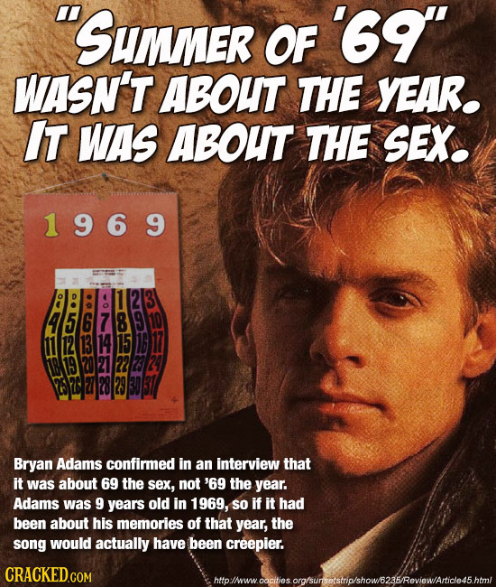Sunner OF '69 WASN'T ABOUT THE YEAR. IT WAs ABOUT THE SEX. 1969 111213 Bryan Adams confirmed in an interview that it was about 69 the sex, not '69 t