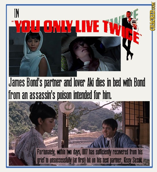 IN YOU ONLY LIVE TWIGE CRACKEDCON James Bond's partner and lover Aki dies in bed with Bond from an assassin's poison intended for him. Fortunately, wi