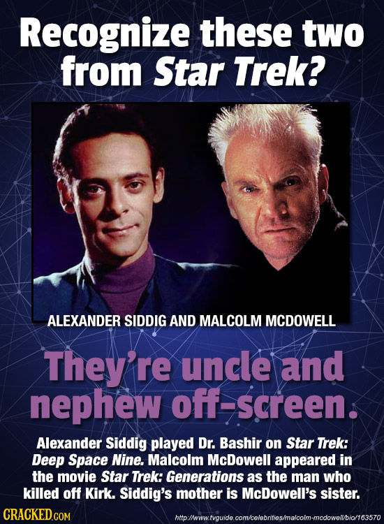 Recognize these two from Star Trek? ALEXANDER SIDDIG AND MALCOLM MCDOWELL They're uncle and nephew -screen. Alexander Siddig played Dr. Bashir on Star