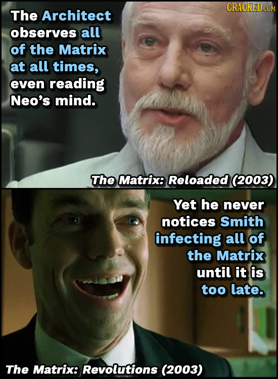 The Architect observes all of the Matrix at all times, even reading Neo's mind. The Matrix: Reloaded (2003) Yet he never notices Smith infecting all o