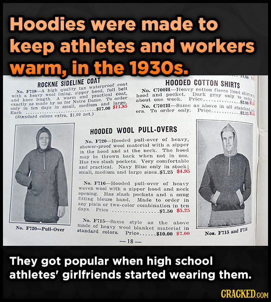Hoodies were made to keep athletes and workers Warm, in the 1930s. COAT ROCKNE SIDELINE HOODED COTTON SHIRTS coat waterproor quality tan belt C70011-