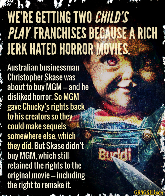 WE'RE GETTING TWO CHILD'S PLAY FRANCHISES BECAUSE A RICH JERK HATED HORROR MOVIES. Australian businessman Christopher Skase was about to buy MGM- and