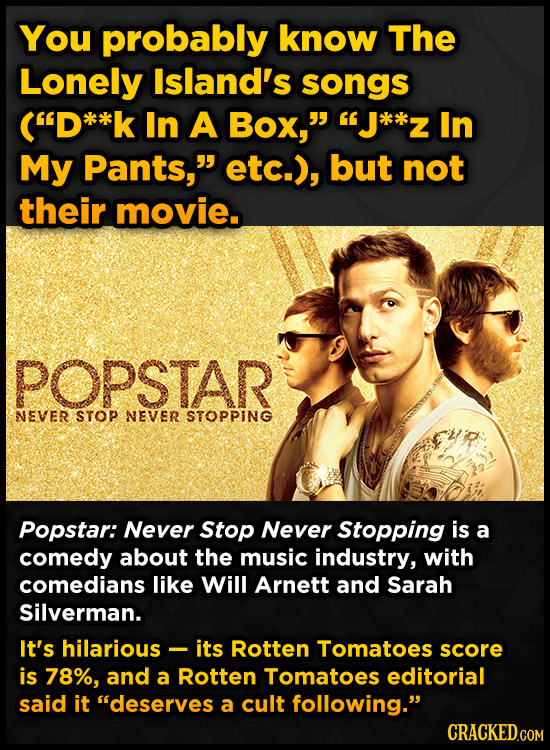 You probably know The Lonely Island's songs (D**l In A Box, J*k*z In My Pants, etc.), but not their movie. POPSTAR NEVER STOP NEVER STOPPING Popst