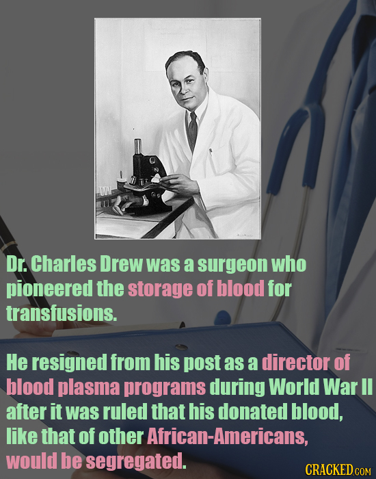 JO Dr. Charles Drew was a surgeon who pioneered the storage of blood for transfusions. He resigned from his post as a director of blood plasma program