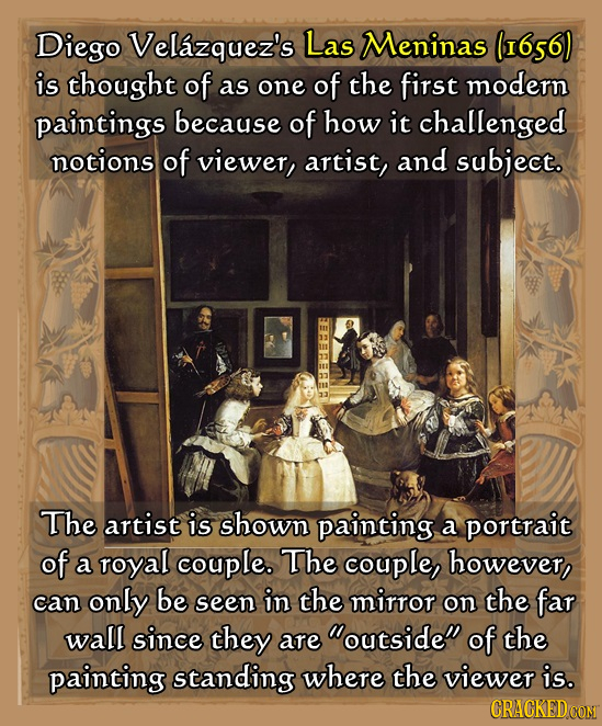 Diego Velazquez's Las Meninas (I656) is thought of as one of the first modern paintings because of how it challenged notions of viewer, artist, and su