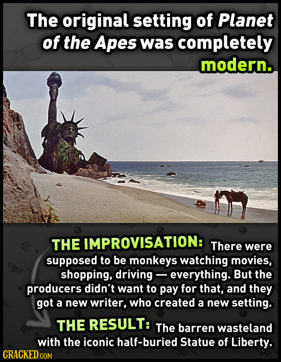 The original setting of Planet of the Apes was completely modern. The IMPROVISATION: There were supposed to be monkeys watching movies, shopping, driv