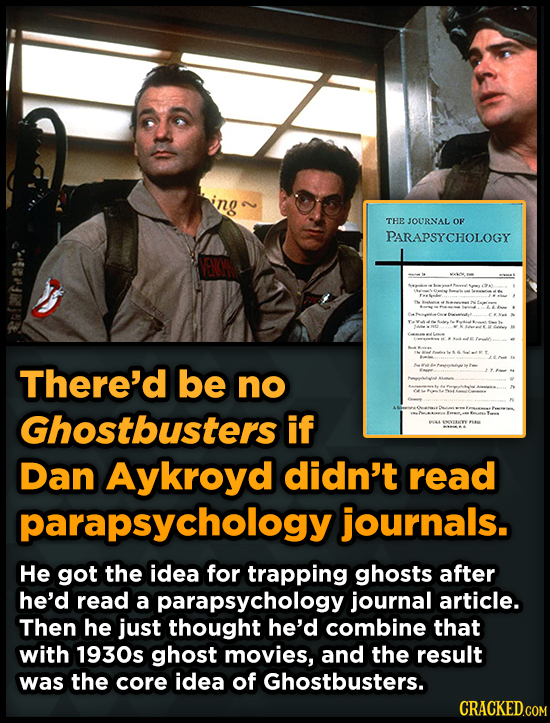 2 THE JOURNAL OF A PARAPSYCHOLOGY W There'd be A no Ghostbusters if Dan Aykroyd didn't read parapsychology journals. He got the idea for trapping ghos