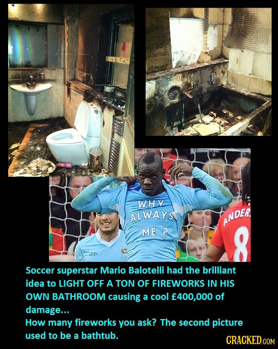 WHV ALWAYS ANDER ME P Soccer superstar Mario Balotelli had the brilliant idea to LIGHT OFF A TON OF FIREWORKS IN HIS OWN BATHROOM causing a cool 400,0