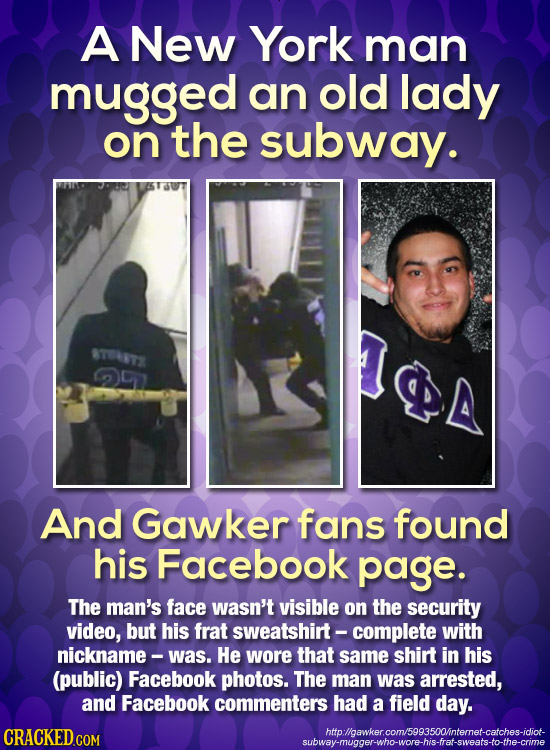 A New York man mugged an old lady on the subway. STVRTS And Gawker fans found his Facebook page. The man's face wasn't visible on the security video,