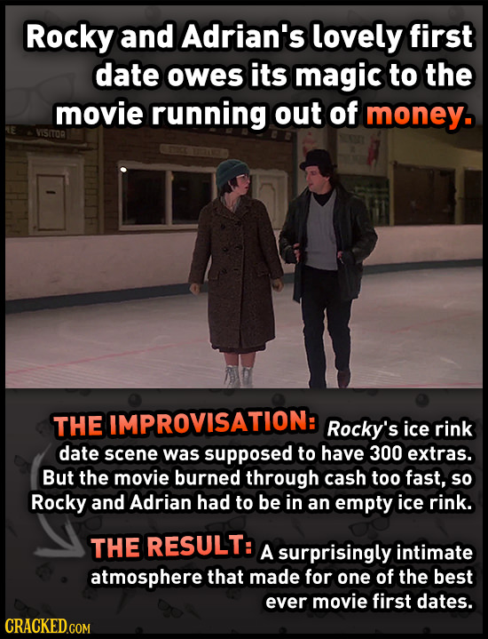 Rocky and Adrian's lovely first date owes its magic to the movie running out of money. VISITOR THE IMPROVISATION: Rocky's ice rink date scene was supp