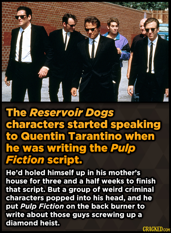 The Reservoir Dogs characters started speaking to Quentin Tarantino when he was writing the Pulp Fiction script. He'd holed himself up in his mother's