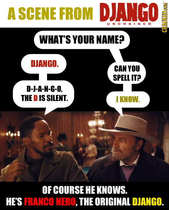 A SCENE FROM DJANGO UNOHAINED WHAT'S YOUR NAME? CRan DJANGO. CAN YOU SPELL IT? D-J-A-N-G-O, THE D IS SILENT. I KNOW. OF COURSE HE KNOWS. HE'S FRANCO N