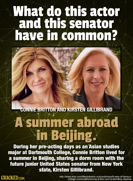 What do this actor and this senator have in common? CONNIE BRITTON AND KIRSTEN GILLIBRAND A summer abroad in Beijing. During her pre-acting days as an