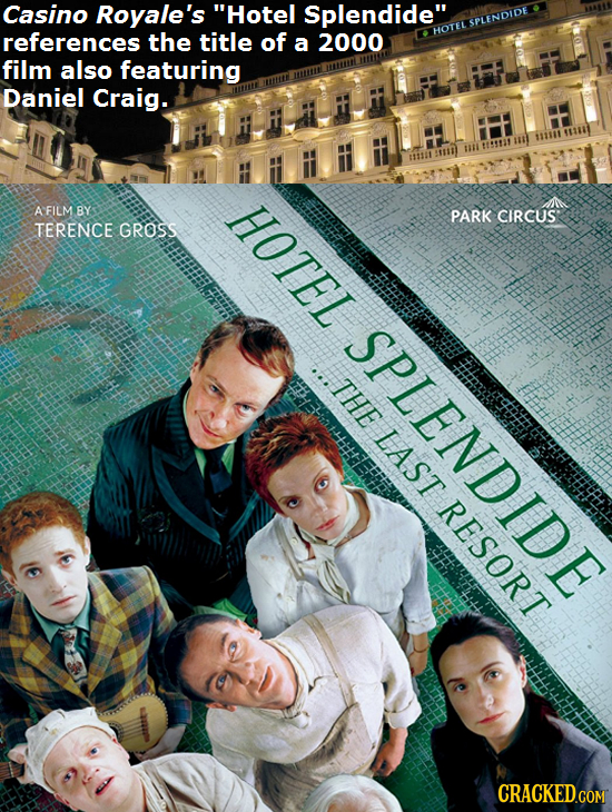 Casino Royale's Hotel Splendide references the title of a 2000 HOTELSPLENDIDE film also featuring T Daniel Craig. HOTEL AFILM BY PARK CIRCUS TERENCE