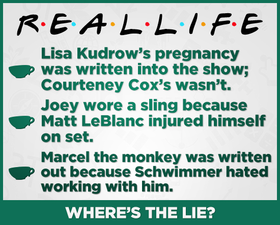REALLIFE Lisa Kudrow's pregnancy was written into the show; Courteney Cox's wasn't. Joey wore a sling because Matt LeBlanc injured himself on set. Mar