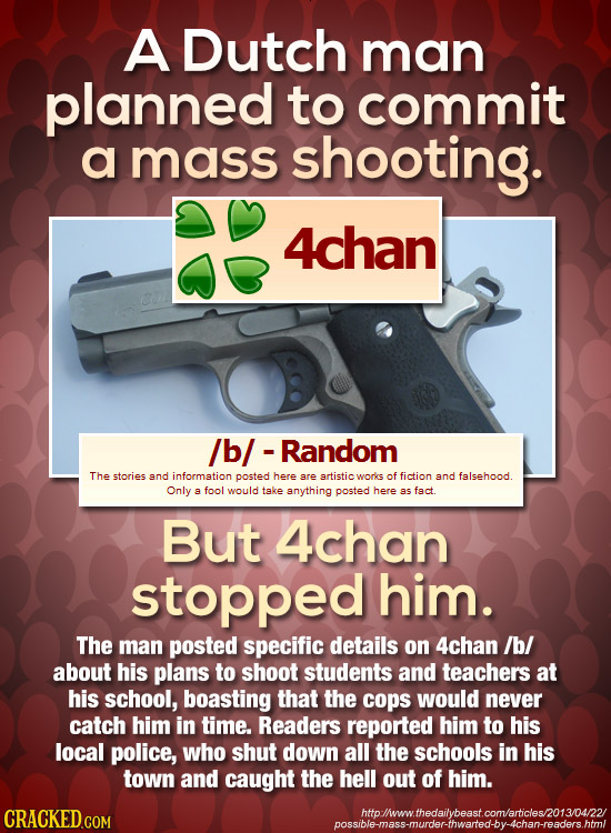 A Dutch man planned to commit a mass shooting. 4chan /b/ - Random The stories and information posted here are artistic woriks of fiction and falsehood