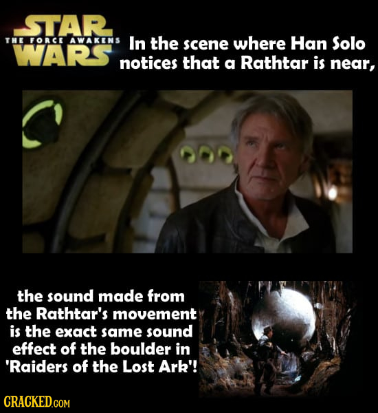 STAR THE FORCE AWAKENS In the scene where Han Solo WARS notices that a Rathtar is near, the sound made from the Rathtar's movement is the exact same s