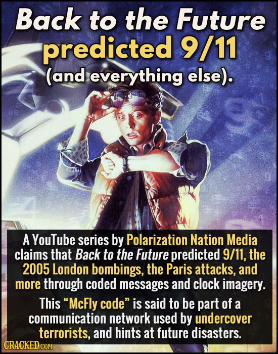 Back to the Future predicted 9/11 (and everything else). 68 A YouTube series by Polarization Nation Media claims that Back to the Future predicted 9/1