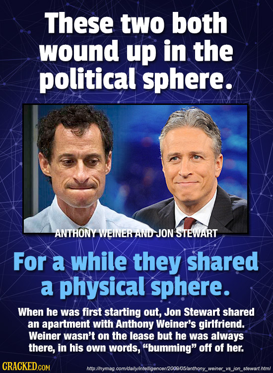 These two both wound up in the political sphere. ANTHONY WEINERAND-JON STEWART For a while they shared a physical sphere. When he was first starting o