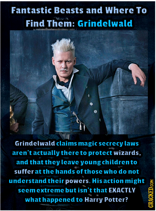 Fantastic Beasts and Where To Find Them: Grindelwald Grindelwald claims magic secrecy laws aren't actually there to protect wizards, and that they lea