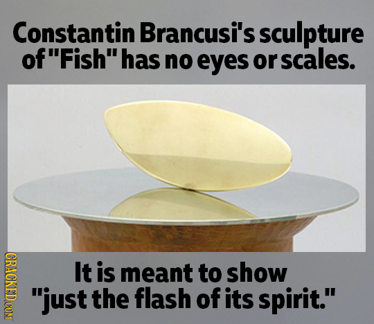 Constantin Brancusi's sculpture ofFish has no eyes or scales. CRACKEDCON It is meant to show just the flash of its spirit.