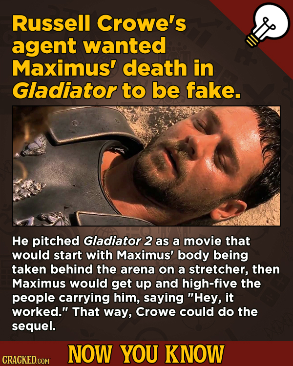 13 Little Things You Didn't Know About Movies And A Bunch Of Other Subjects - Russell Crowe's agent wanted Maximus' death in Gladiator to be fake.