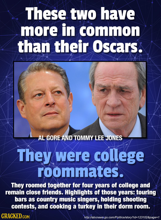 These two have more in common than their Oscars. AL GORE AND TOMMY LEE JONES They were college roommates. They roomed together for four years of colle