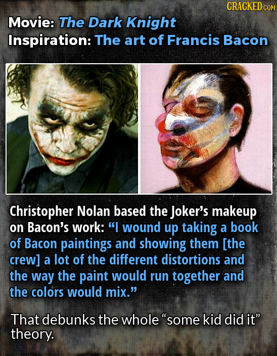 CRACKED COM Movie: The Dark Knight Inspiration: The art of Francis Bacon Christopher Nolan based the Joker's makeup on Bacon's work:  wound up taking