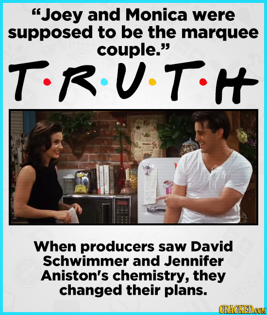 Joey and Monica were supposed to be the marquee couple. T.RU-T.I When producers saw David Schwimmer and Jennifer Aniston's chemistry, they changed t
