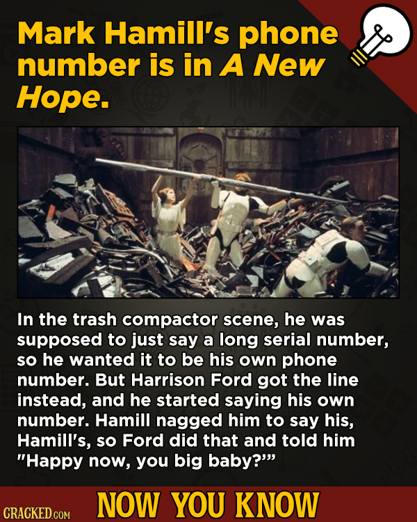 13 Little Things You Didn't Know About Movies And A Bunch Of Other Subjects - Mark Hamill's phone number is in A New Hope.