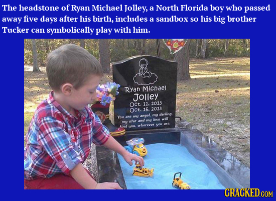 The headstone of Ryan Michael Jolley, a North Florida boy who passed away five days after his birth, includes a sandbox so his big brother Tucker can