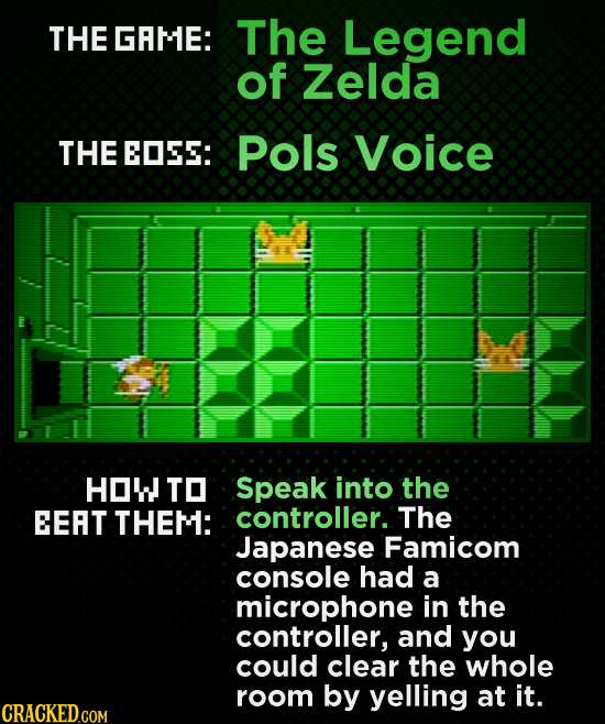 THE GAME: The Legend of Zelda THE EOES: Pols Voice HOW TO Speak into the EEAT THEM: controller. The Japanese Famicom console had a microphone in the c