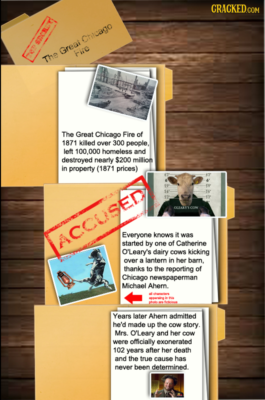 CRACKED.COM Chicago 308. Greai Fie ET The The Great Chicago Fire of 1871 killed over 300 people, left 100,000 homeless and destroyed nearly $200 milli