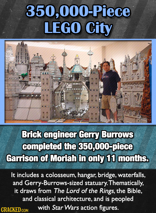 000-Piece LEGO City Brick engineer Gerry Burrows completed the 350,000-piece Garrison of Moriah in only 11 months. It includes a colosseum, hangar, br