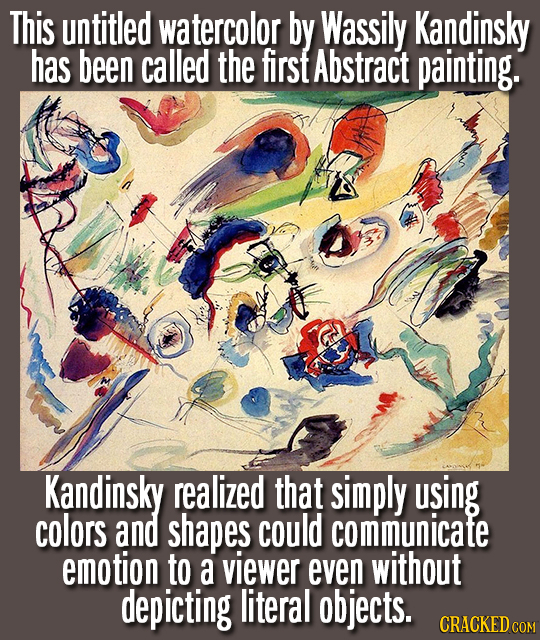 This untitled watercolor by Wassily Kandinsky has been called the first Abstract painting. Kandinsky realized that simply using colors and shapes coul