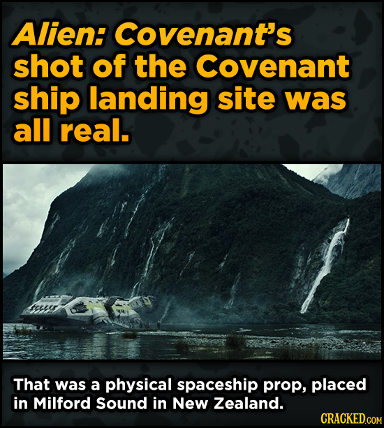 Ingenious Ways Famous Movies Pulled Off Special Effects - Alien: Covenant's shot of the Covenant ship landing site was all real.